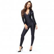B800 - NOIR -  BODYSTOCKING OPAQUE BRILLANT - TWO-WAY ZIPPER