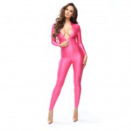 B800 - ROSE - BODYSTOCKING OPAQUE BRILLANT -  TWO-WAY ZIPPER