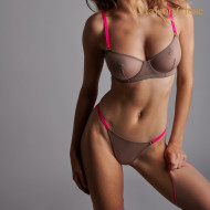 CORPS A CORPS SOUTIEN GORGE CORBEILLE - TAUPE/ROSE FLUO/OR