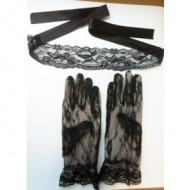 ENSEMBLE SEDUCTION - BANDEAU & GANTS NOIR TU