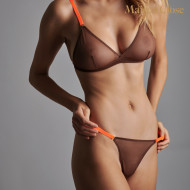 CORPS A CORPS SOUTIEN GORGE TRIANGLE - CHOCO/ORANGE FLUO/OR