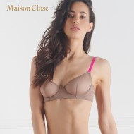 CORPS A CORPS SOUTIEN GORGE CORBEILLE - TAUPE/ROSE FLUO