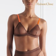 CORPS A CORPS SOUTIEN GORGE TRIANGLE - CHOCO/ORANGE FLUO
