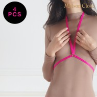 SIGNATURE - BRETELLES BODY - ROSE FLUO - LOT DE 4 X 1 PAIRE