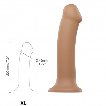 SEMI-REALISTIC DUAL DENSITY BENDABLE DILDO CARAMEL SIZE XL