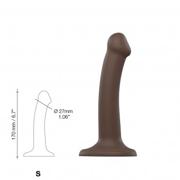 SEMI-REALISTIC DUAL DENSITY BENDABLE DILDO CHOCOLATE SIZE S
