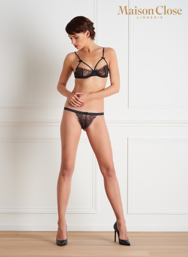 VILLA SATINE BLACK NAKED BREAST BRA
