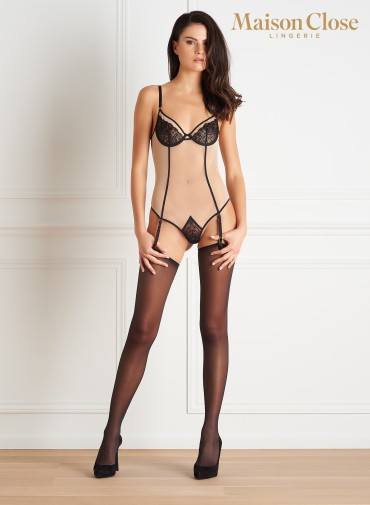 L'ANTICHAMBRE THONG BODY WITH SUSPENDERS