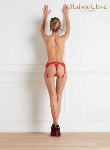 20 DENIERS BACK SEAMED STOCKINGS NUDE/RED