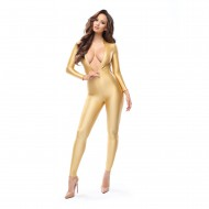 B800 - GOLD - GLOSSY BODYSTOCKING WITH TWO-WAY ZIPPER