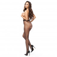 P611 - FISHNET OPEN SCROTCH WITH DECORATIVE PATTERNS - BLACK