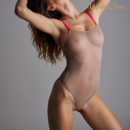 CORPS A CORPS THONG BODY - GINGER SNAP/NEON PINK/GOLD