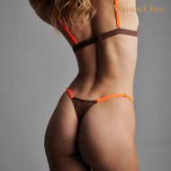 CORPS A CORPS - THONG - BROWN/NEON ORANGE/GOLD