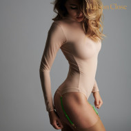 CORPS A CORPS THONG BODY LONG SLEEVES - NUDE/NEON GREEN/GOLD