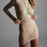 CORPS A CORPS - DRESS - NUDE/NEON GREEN/GOLD