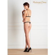 VILLA SATINE BLACK MINI THONG