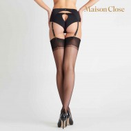NYLON STOCKINGS BLACK/GOLD SEAM 15D