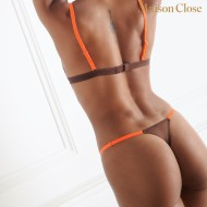 CORPS A CORPS - THONG - BROWN / NEON ORANGE