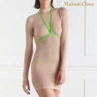 CORPS A CORPS - DRESS - NUDE/NEON GREEN