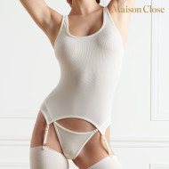 LA FEMME AMAZONE TANK TOP WITH REMOVABLE SUSPENDERS - IVORY