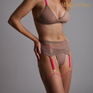CORPS A CORPS PORTE-JARRETELLES - TAUPE/ROSE FLUO/OR