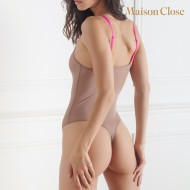 CORPS A CORPS BODY STRING - TAUPE/ROSE FLUO